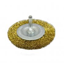 Купить Щетка крацовка дисковая, латунная со шпилькой, 100мм Spitce | 18-062