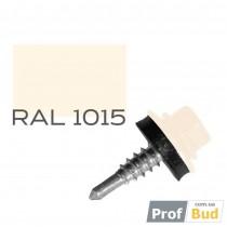 Купить Саморез со сверлом по металлу 4,8х19 мм RAL 1015 c EPDM шайбой, уп.(250 шт.)