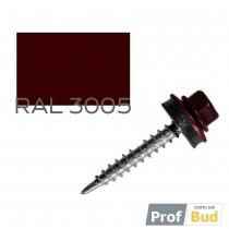 Купить Саморез со сверлом по дереву 4,8х35 мм RAL 3005 c EPDM шайбой, уп.(250 шт.)