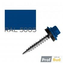 Купить Саморез со сверлом по дереву 4,8х35 мм RAL 5005 c EPDM шайбой, уп.(250 шт.)
